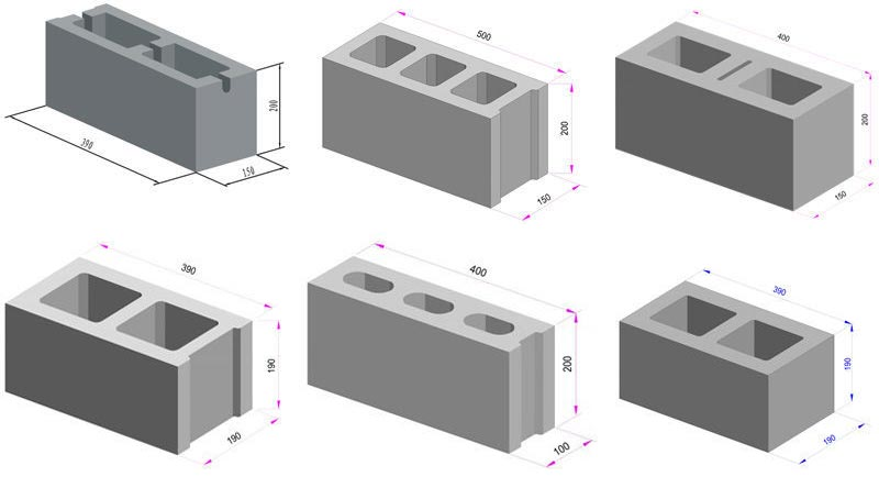 Types and dimensions of cinder blocks