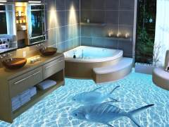 Liquid 3-d floor in the bathroom
