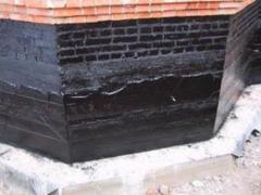 Basement waterproofing using bitumen mastic