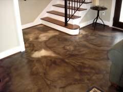 The concrete floor painted acid