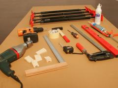 The tools necessary for the construction of a door frame