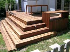 Porch of wood in a modern style
