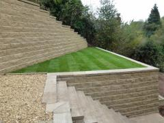 A complex combination of retaining walls and stairs