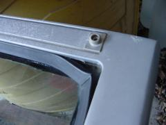 The oxidized window frame aluminum