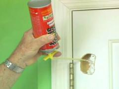 Eliminate the hole in the door using mounting foam