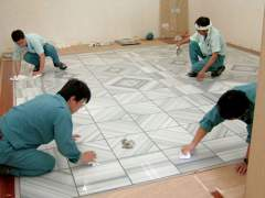 Laying marble floor