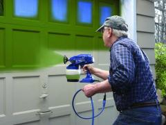 Paint the front door with a hand sprayer