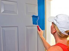 The door painted with a roller