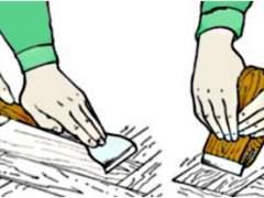 Manual polishing of parquet