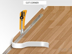 The cut angle when installing linoleum