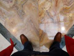 Compare marble floor before and after polishing
