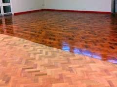 Flooring before and after coating with varnish