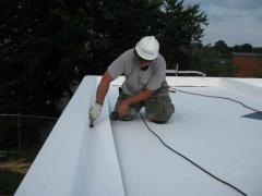 Installation of waterproofing membrane PVC roof