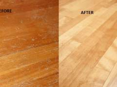 Bamboo flooring before and after exfoliation