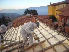 The roof insulation with polyurethane