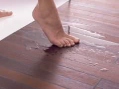 Parquet floor wet from water