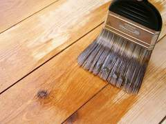 The protective coating on the wood surface
