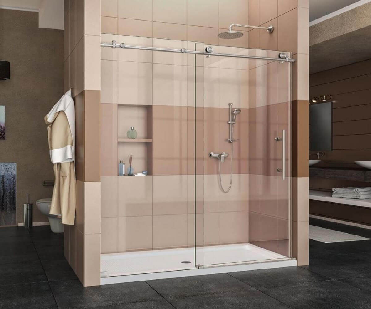 Economical Design Tempered Glass Large Stainless Steel Wheel Sliding Shower Door Folding Glass Shower Doors